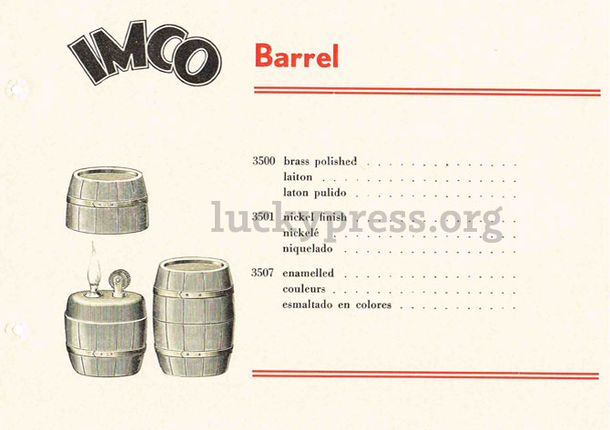 IMCO Barrel, каталог изделий 1938 год