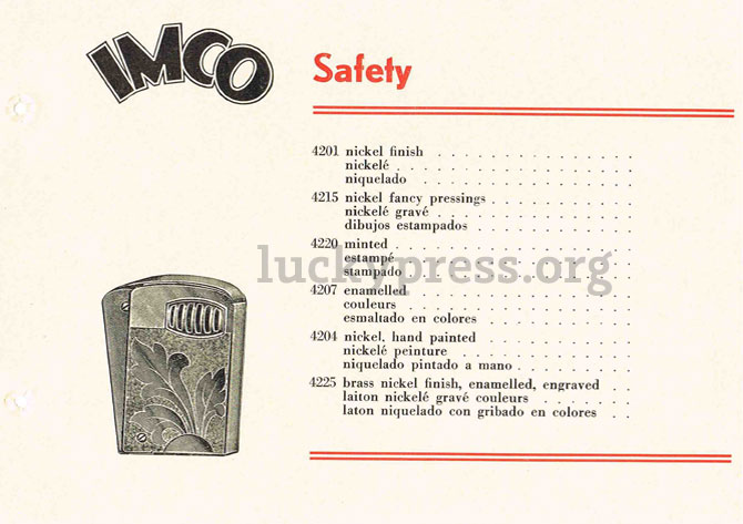 IMCO Safety, каталог изделий 1938 год